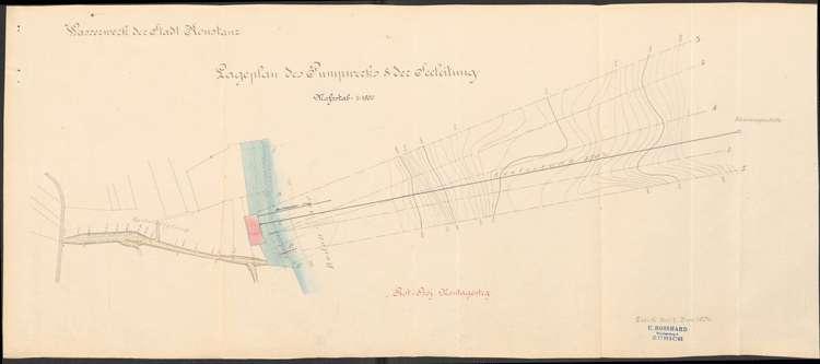 Herstellung eines provisorischen Arbeitssteges bei Staad auf Gemarkung Allmannsdorf durch die Firma M. Rosshard in Zürich zur Verlegung der Seeleitung, Bild 1