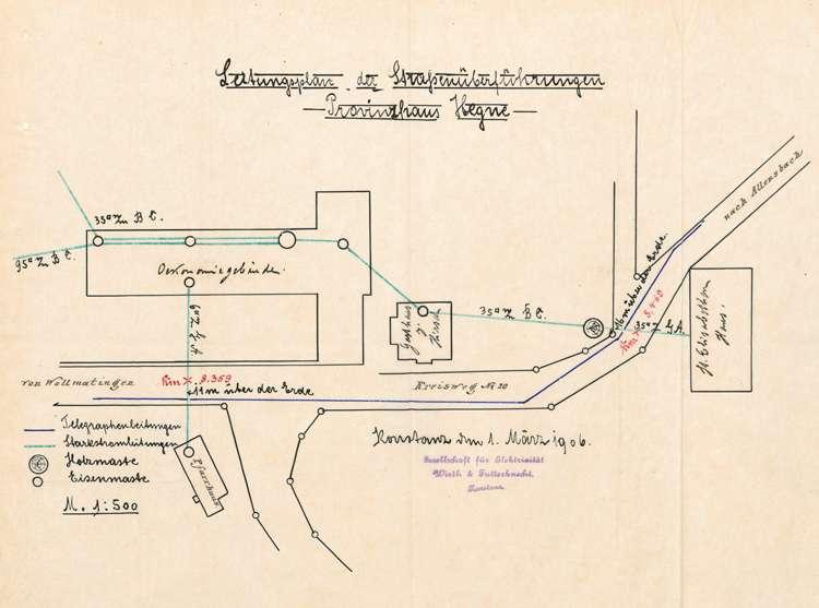 Errichtung und Betrieb der Starkstromanlage im Provinzhaus zu Hegne, Bild 1
