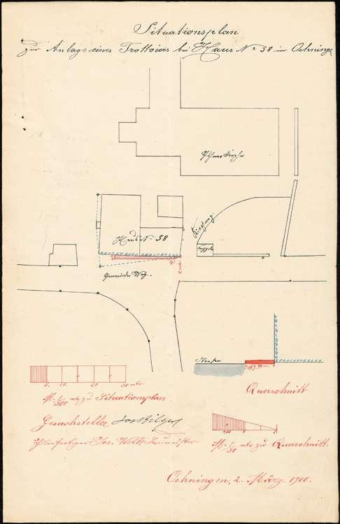 Anlage eines Trottoirs vor dem Hause des Kaufmanns Josef Bilger in Öhningen, Bild 1