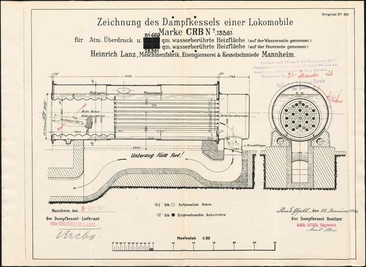 Genehmigung eines feststehenden Dampfkessels für Karl Stier in Radolfzell, Bild 1