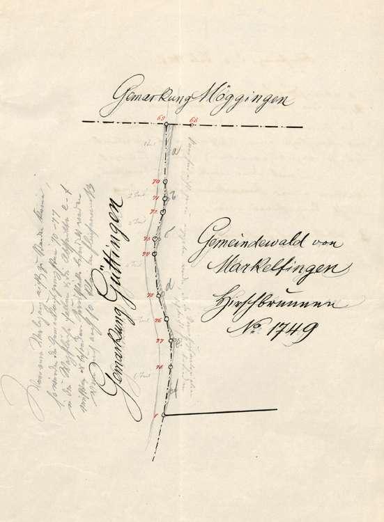 Prüfung der Grenzverlegungsarbeiten auf Gemarkung Markelfingen, Bild 1