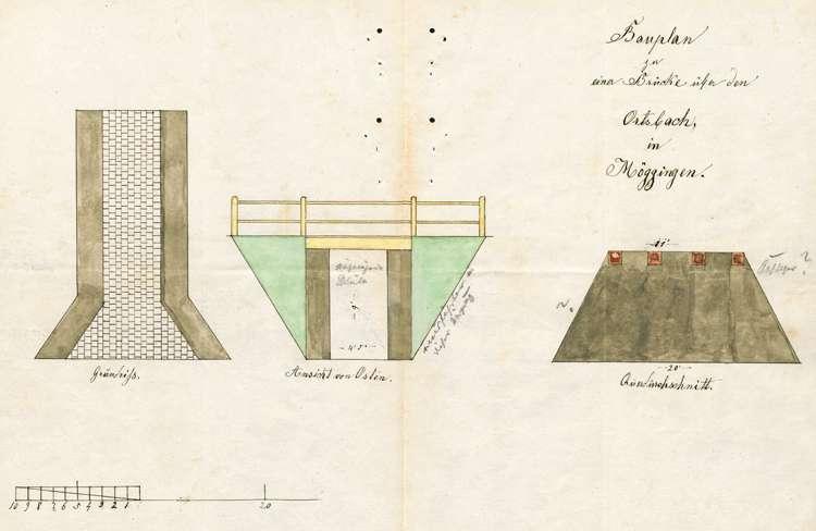 Herstellung einer Straße von Liggeringen über Möggingen nach Radolfzell; Bau einer Brücke über den Ortsbach in Möggingen, Bild 1