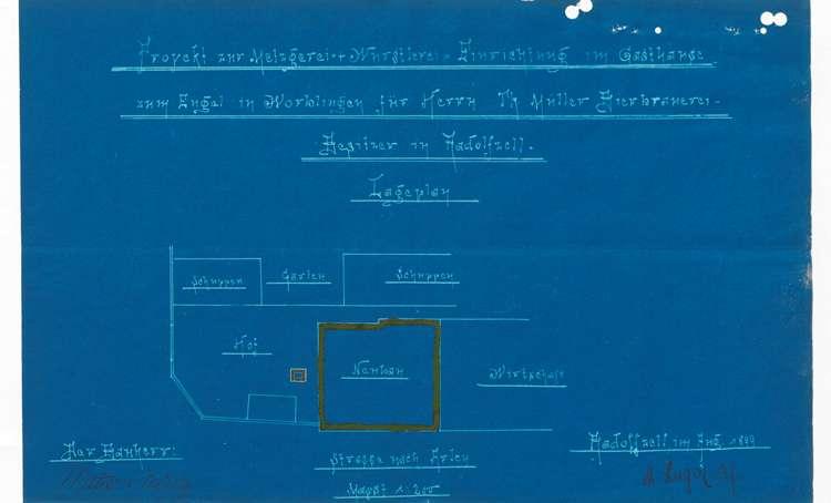 Gesuch der Firma Mattes & Müller in Radolfzell um Genehmigung zur Errichtung einer Schlächterei in Worblingen, Bild 1