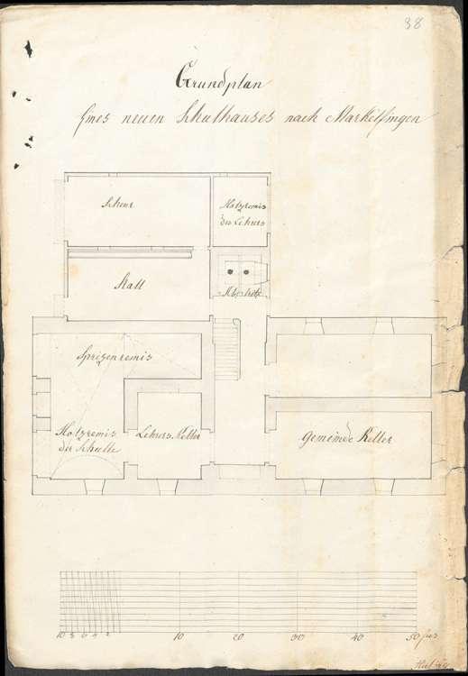 Bau und Unterhaltung des Schulhauses samt Ökonomiegebäude in der Gemeinde Markelfingen, Bild 1