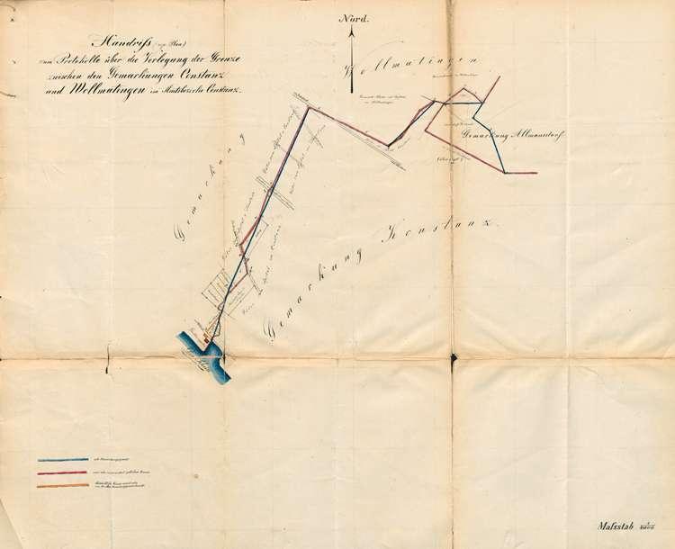 Protokoll über die Verlegung der Grenze zwischen der Gemarkungen der Stadt Konstanz und der Gemeinde Wollmatingen, Bild 1