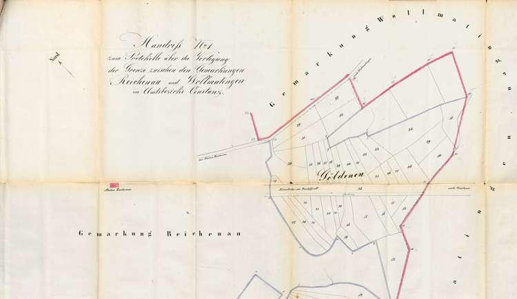 Protokoll über die Verlegung der Grenze zwischen den Gemarkungen der Gemeinden Reichenau und Wollmatingen, Bild 1