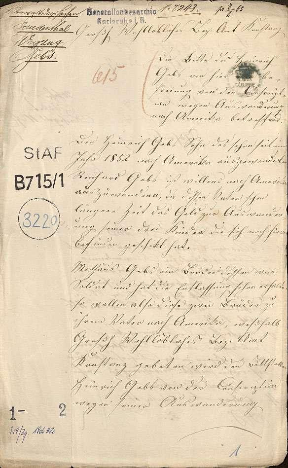 Auswanderung: Heinrich Gebs, Freudental nach Amerika, Bild 1