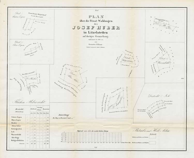 Lithographischer Plan über den Privatwald des Josef Huber in Litzelstetten, Bild 1