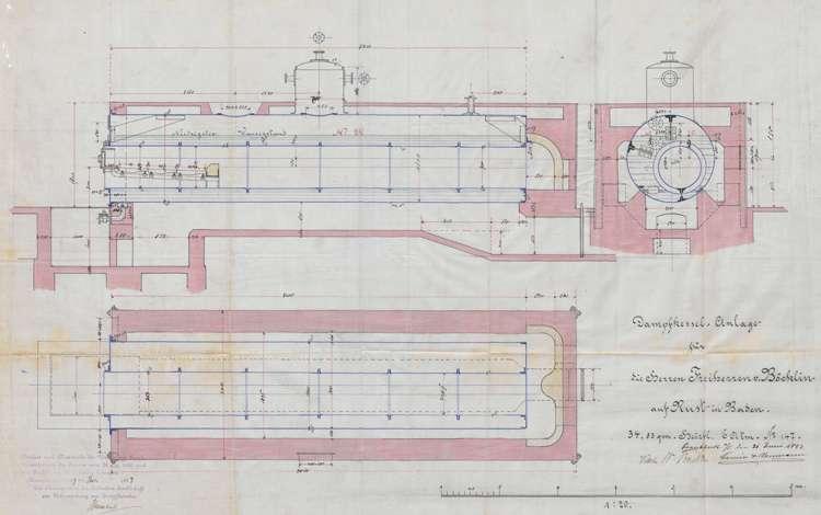 Gesuch der Verwaltung des Freiherrn von Böcklin in Rust um Genehmigung zur Aufstellung eines Dampfkessels sowie regelmäßge Überprüfung der Dampfkesselanlage, Bild 1