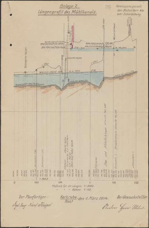Gesuch der Witwe des Franz Anton Herr um Genehmigung zur Erhöhung der Eichmarke im Oberwasserkanal ihrer Mühle auf Gemarkung Rust, Bild 2