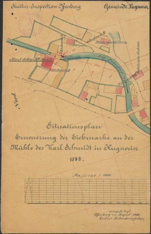 Feststellung der Eichmarken bei den Mühlen in Hugsweier, Bild 1