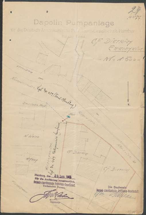 Gesuch der Firma C. F. Dietrich in Ettenheim um Genehmigung zur Errichtung einer Benzinzapfstelle ebendort; Auswechslung des alten Pumpständers, Bild 1