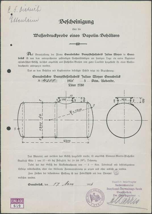 Gesuch der Firma C. F. Dietrich in Ettenheim um Genehmigung zur Errichtung einer Benzinzapfstelle ebendort; Auswechslung des alten Pumpständers, Bild 3