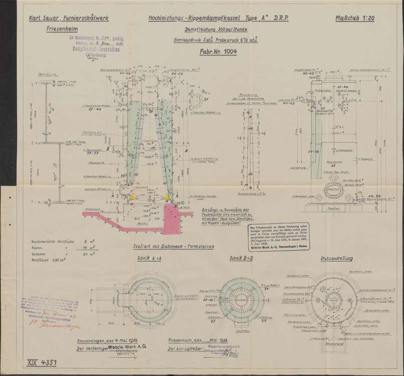 Aufstellung und Betrieb eines Dampfkessels im Furnierschälwerk des Karl Sauer in Friesenheim, Bild 1