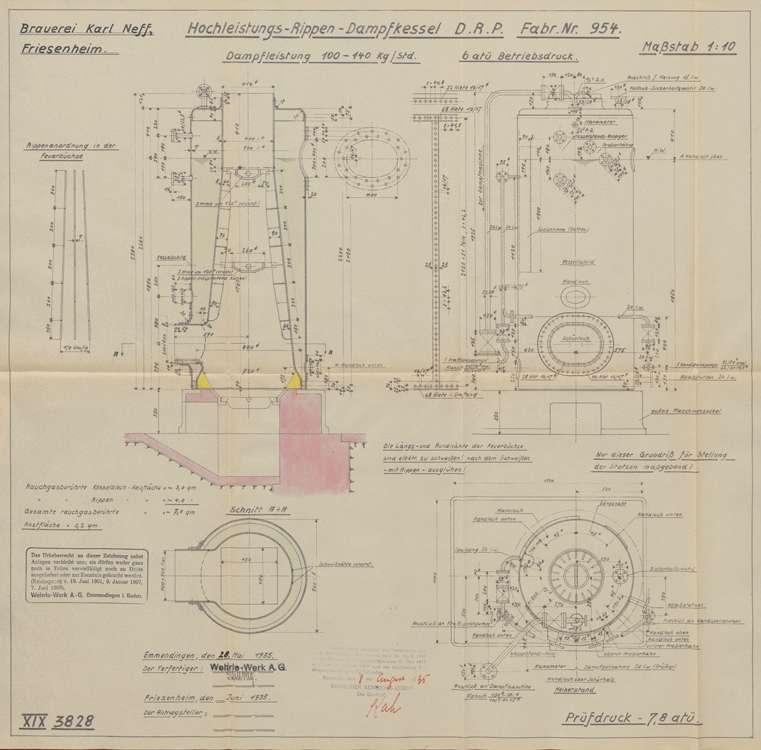 Aufstellung und Betrieb eines Dampfkessels in der Bierbrauerei des Josef Neff in Friesenheim, Bild 3