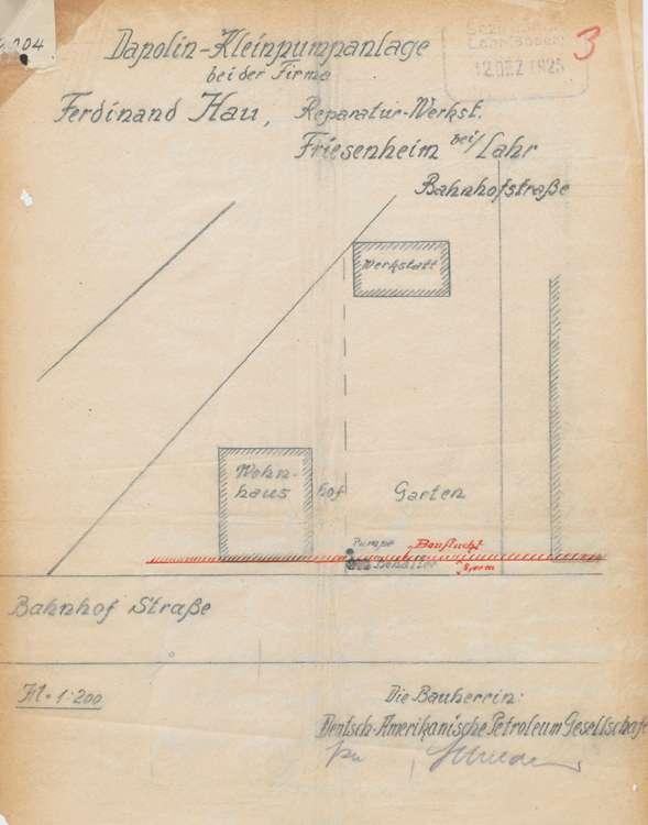 Aufstellung der Benzinpumpanlage des Ferdinand Hau in Friesenheim und Überwachung der Anlage, Bild 1