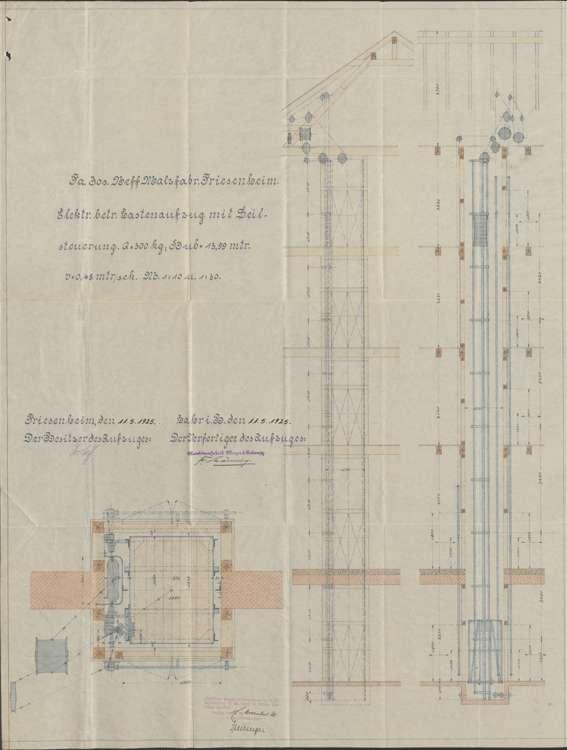 Einbau von Aufzug-Anlagen in der Firma des Josef Neff in Friesenheim und Überwachung der Anlagen, Bild 1