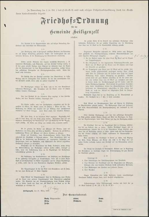 Anlegung und Unterhaltung des Friedhofs in der Gemeinde Heiligenzell sowie Erlassung einer Friedhofsordnung und deren Erneuerung, Bild 2