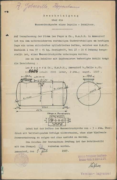 Gesuch der Deutsch-amerikanischen Petroleum-Gesellschaft in Mannheim um Genehmigung zur Errichtung einer Dapolinpumpe bei der Firma a. Goberville in Kippenheim sowie Wartung der Pumpe, Bild 3