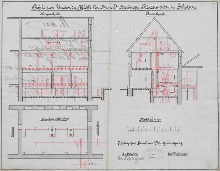 Unterhaltung der Getreidemühle des Josef Hechinger in Schuttern, insbesondere der Umbau der Wasserkraftanlage, Bild 1