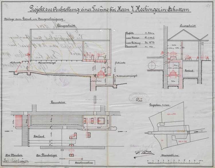 Unterhaltung der Getreidemühle des Josef Hechinger in Schuttern, insbesondere der Umbau der Wasserkraftanlage, Bild 2