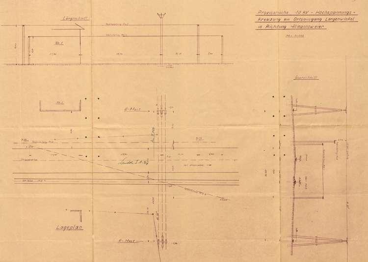 Gesuch der Firma Julius Berger Tiefbau-AG in Lahr um Genehmigung zur Errichtung einer Stromleitung am Ortsausgang von Langenwinkel für den Flugplatz Lahr, Bild 1