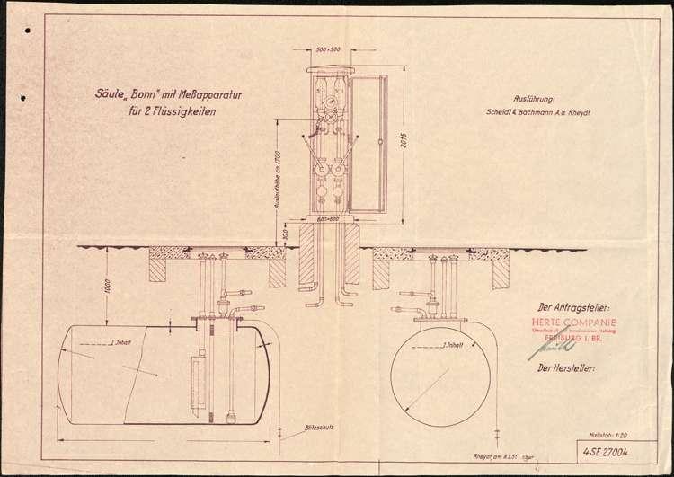 Nicht genehmigtes Gesuch der Herte Companie GmbH in Freiburg um Genehmigung zur Errichtung einer Tankstelle für Fritz Roser auf dem Anwesen des Josef Zehnle in Schweighausen, Bild 2