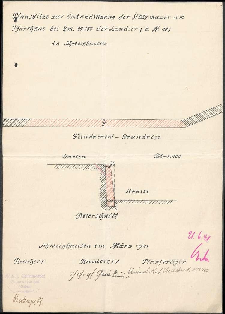 Errichtung einer Straßenstützmauer am Pfarrhaus in Schweighausen, Bild 2
