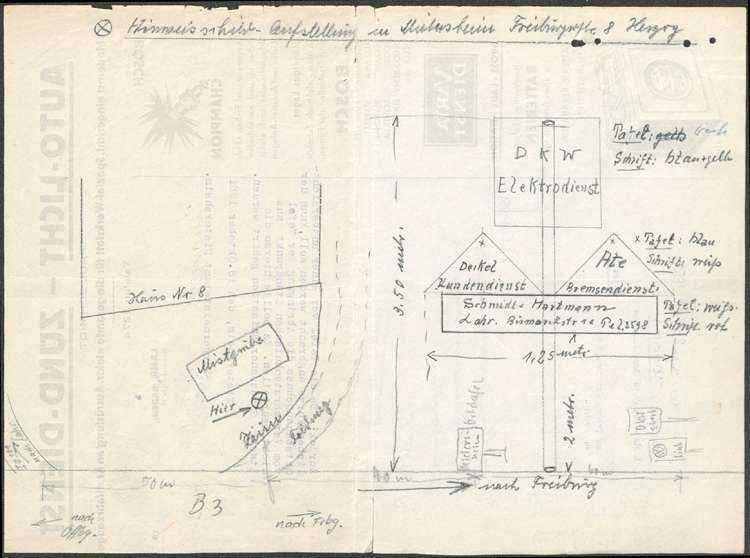 Gesuch der Firma Schmidt und Hartmann in Lahr um Genehmigung zur Aufstellung einer Hinweistafel in Mietersheim, Bild 1