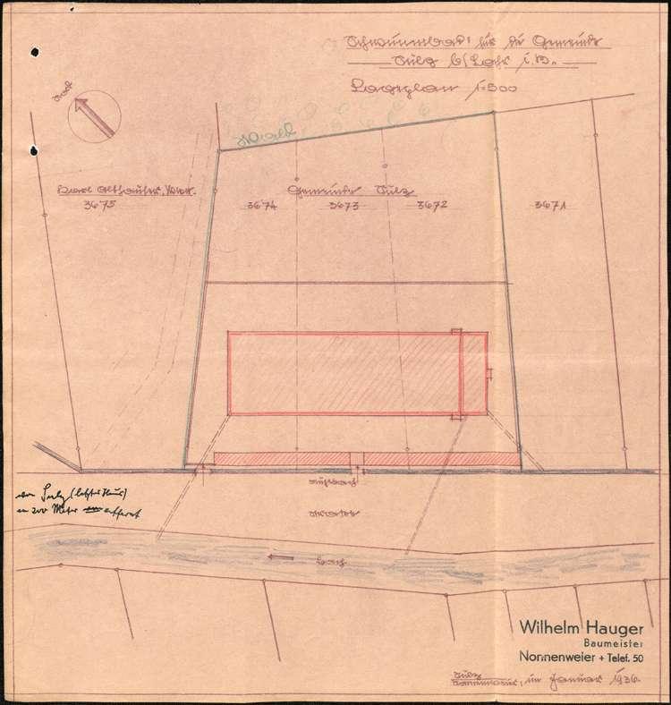 Errichtung einer Halle zum Verkauf von Erfrischungsgetränken im Schwimmbad in Lahr durch Georg Wilhelm, Bild 2
