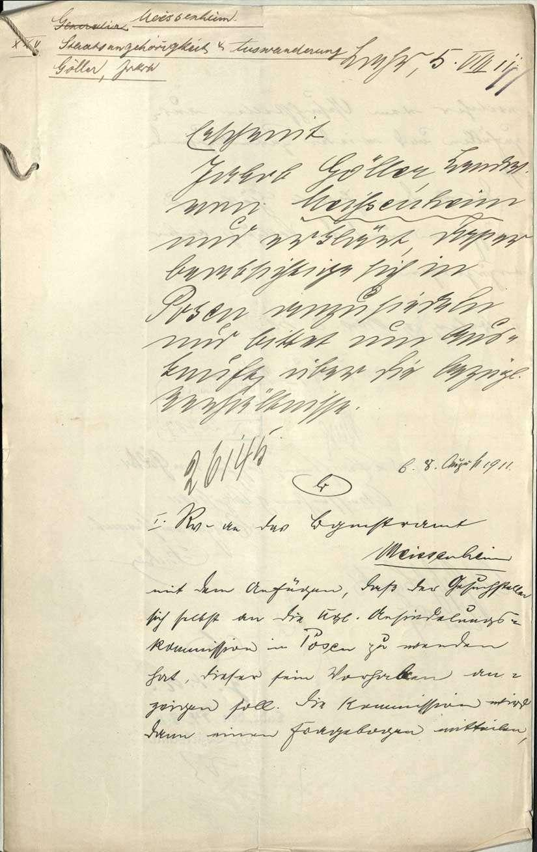 Vorhaben des Jakob Göller, Meißenheim, zur Ansiedlung in Posen/Preußen, Bild 1