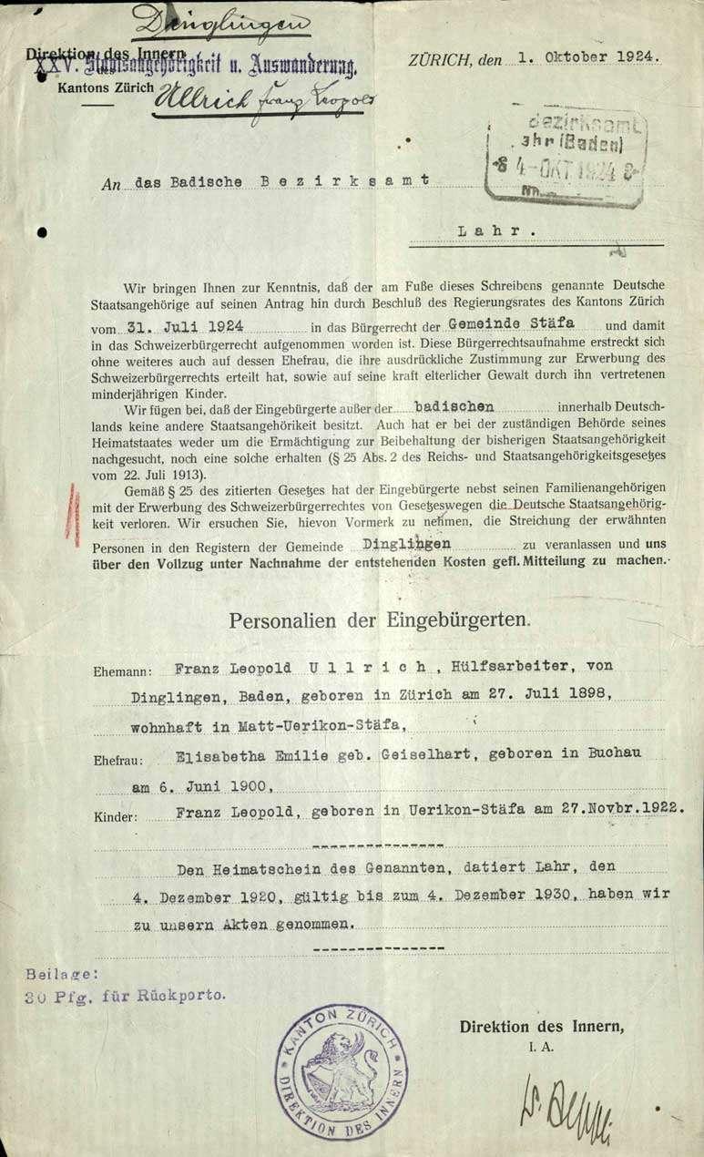 Aufnahme in das Schweizer Bürgerrecht: F. L. Ullrich, Dinglingen, mit seiner Ehefrau und 1 Kind in Stäfa/Kanton Zürich, Bild 1