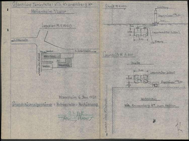 Errichtung einer Tankstelle vor dem Grundstück der Witwe des Wilhelm Kronenberg in Meißenheim, Bild 1