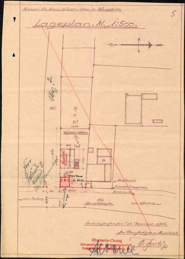 Errichtung einer Tankstelle auf dem Grundstück der Wilhlem Weber in Ringsheim sowie deren spätere Verlegung, Bild 1