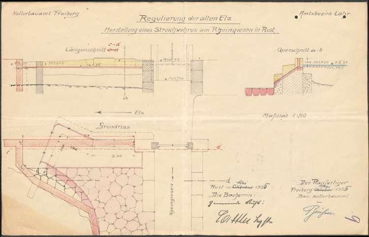 Erstellung eines Streichwehres in Rust zur Verbesserung des Hochwasserschutzes an der alten Elz, Bild 2