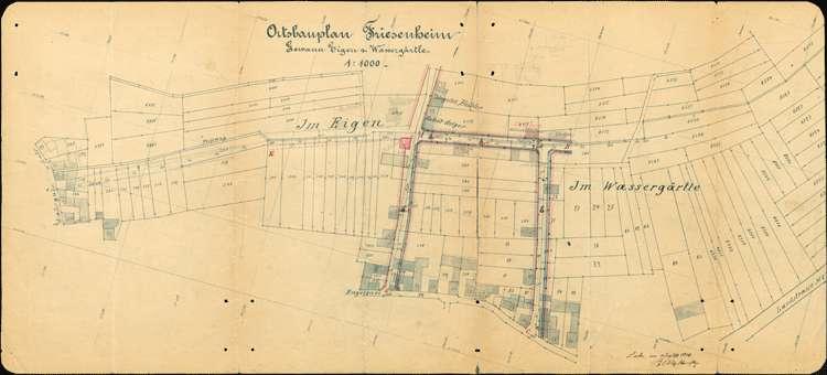 Vollzug des Ortsbauplans der Gemeinde Friesenheim, insbesondere Bau und Erweiterung von Straßen und Wegen sowie Zusammenlegung von Grundstücken, Bild 1