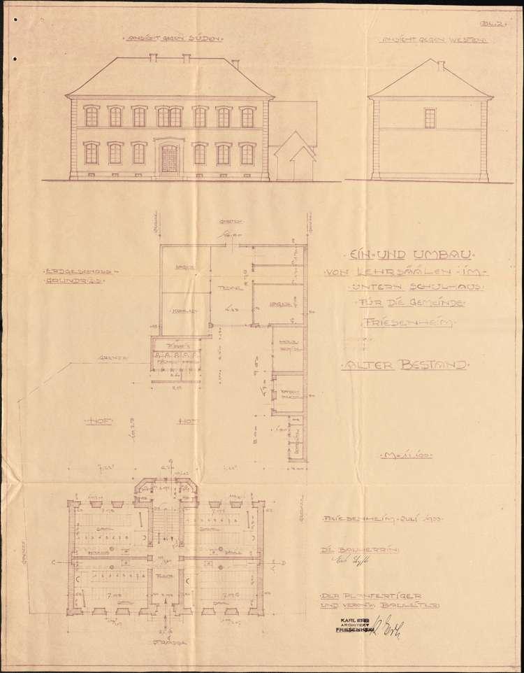 Schulhausneubau sowie Umbau des Schulhauses und der Lehrerwohnung in der Gemeinde Friesenheim, Bild 2