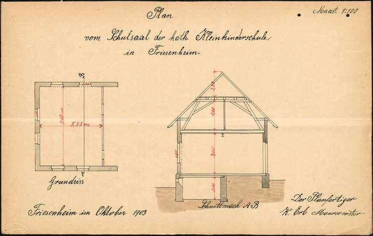 Erbauung und Organisation der katholischen Kleinkinderschule in der Gemeinde Friesenheim, Bild 1