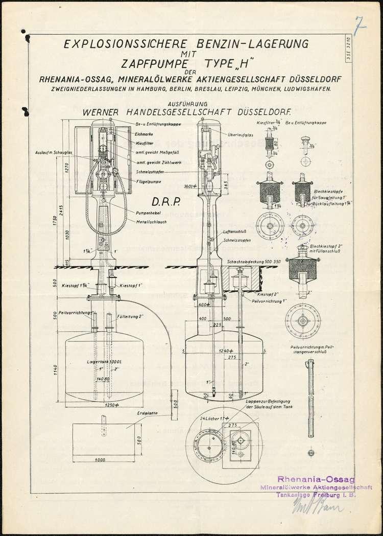 Gesuch der Rhenania-OSSAG Mineralölwerke AG in Freiburg um Genehmigung zur Errichtung einer Shell-Tankanlagee für die Firma Karl Dietrich auf dem Anwesen des Georg Dietrich in Nonnenweier, Bild 2