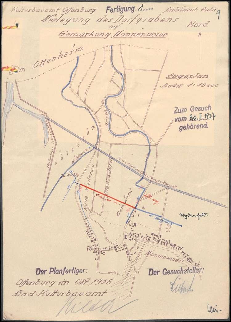 Gesuch der Gemeinde Nonnenweier um Verleihung des Rechts zur Einleitung flüssiger Stoffe in den Mühlbach, Bild 3