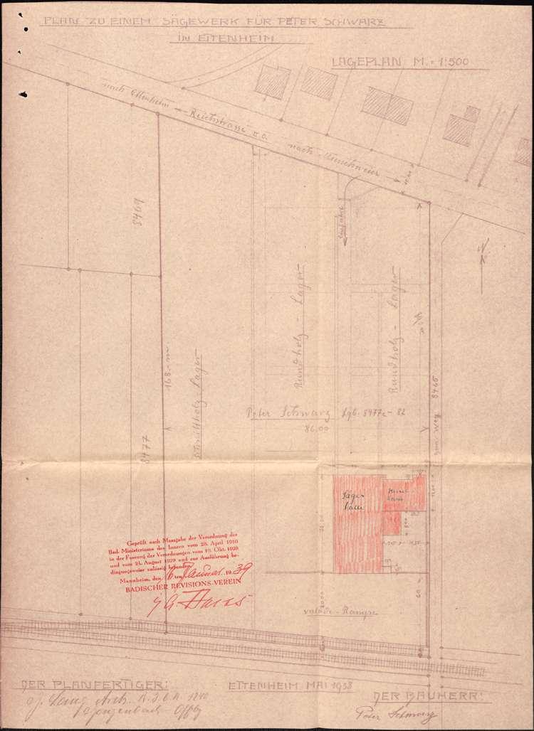 Gesuch des Peter Schwarz in Ettenheim um Genehmigung zur Errichtung eines Dampfkessels zum Betrieb seines Sägewerks, Bild 3