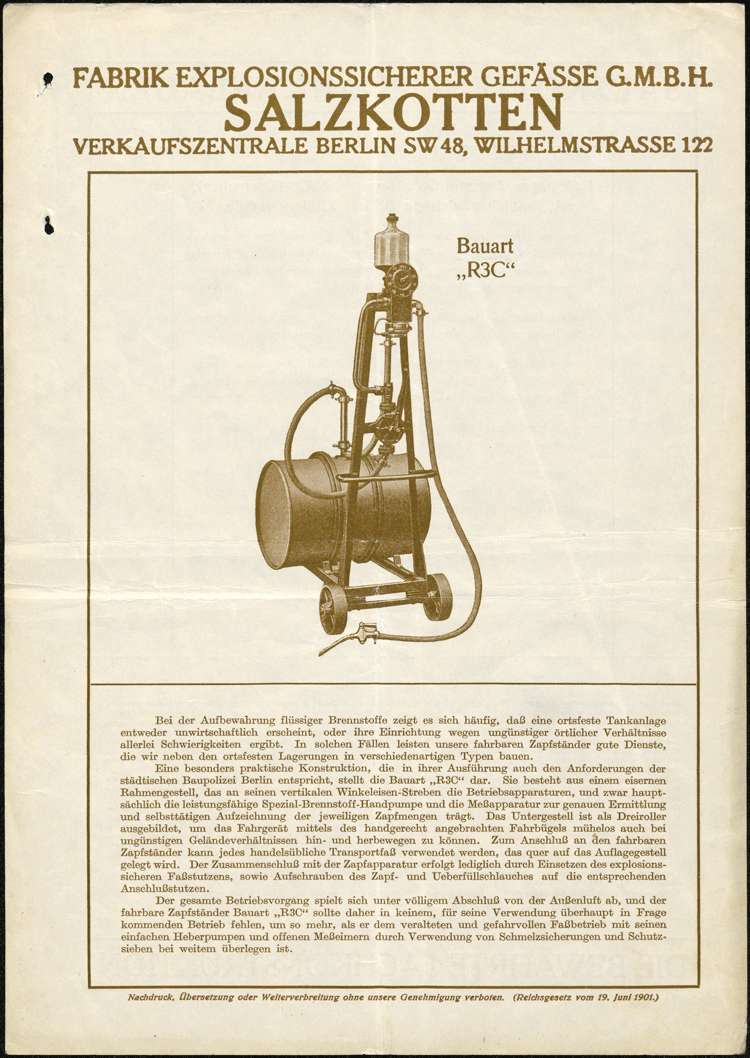 Aufstellung einer fahrbaren Benzin-Zapfanlage durch Robert Ohnemus in Ettenheim, Bild 1