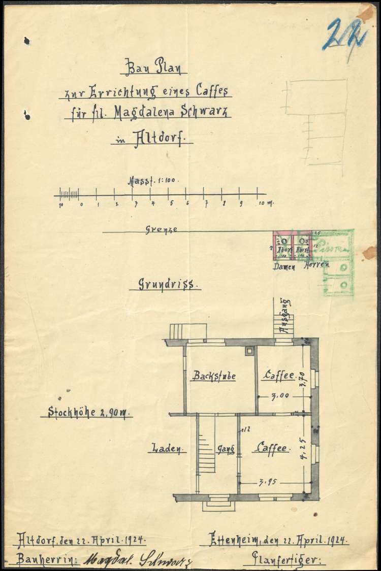 Errichtung eines Cafés durch Fritz Netzhammer in Altdorf sowie Ausweitung der Konzession auf Branntwein und Wein, Bild 2