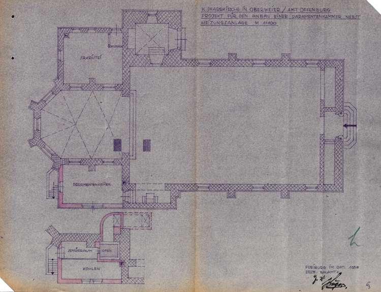 Anbau einer Paramentenkammer und eines Heizkellers an die katholische Kirche in Oberweier, Bild 2