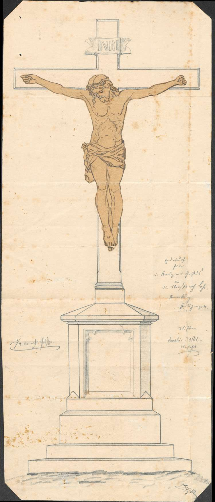 Gesuch der Ottilia Kopp und der Amalie Kopp in Heiligenzell um Erlaubnis zur Errichtung eines Kreuzes mit Christusbild am Lahrer Weg, Bild 1