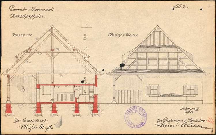 Erbauung eines Farrenstalles in der Gemeinde Oberschopfheim sowie Gesuch um Gewährung von Beihilfen für den Bau, Bild 2