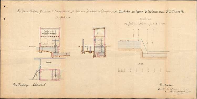 Gesuch des Eduard Holdermann von Müllheim um Genehmigung zur Errichtung einer Turbinenanlage in der Schutter an der Mühle ehemals des Anton Wetterer auf Gemarkung Dinglingen, Bild 2