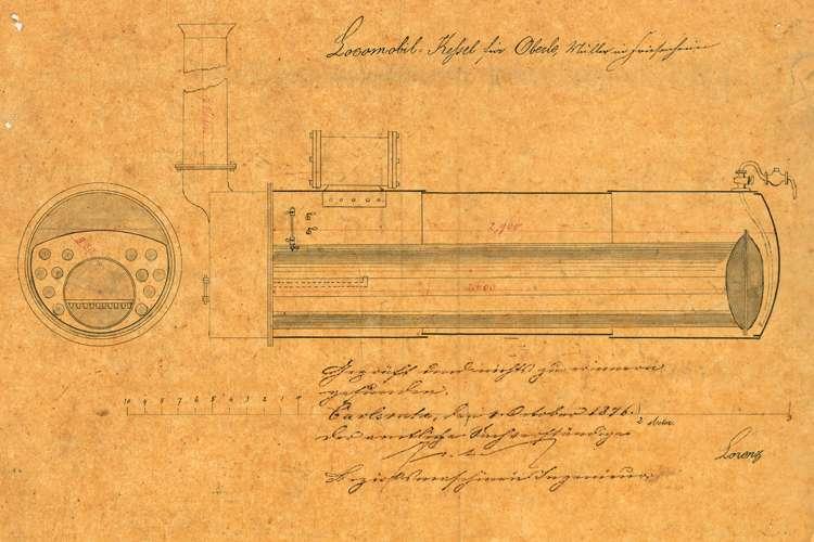 Aufstellung und Betrieb eines fahrbaren Lokomobile durch den Müller Oberle in Friesenheim, Bild 3