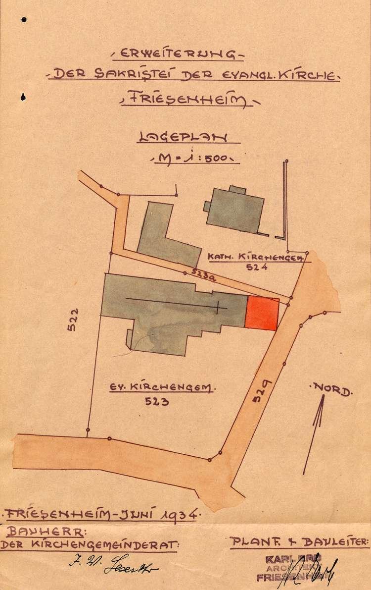 Baugesuch der evangelischen Kirchengemeinde Friesenheim zum Erweiterungsbau der Sakristei an der Kirche, Bild 1