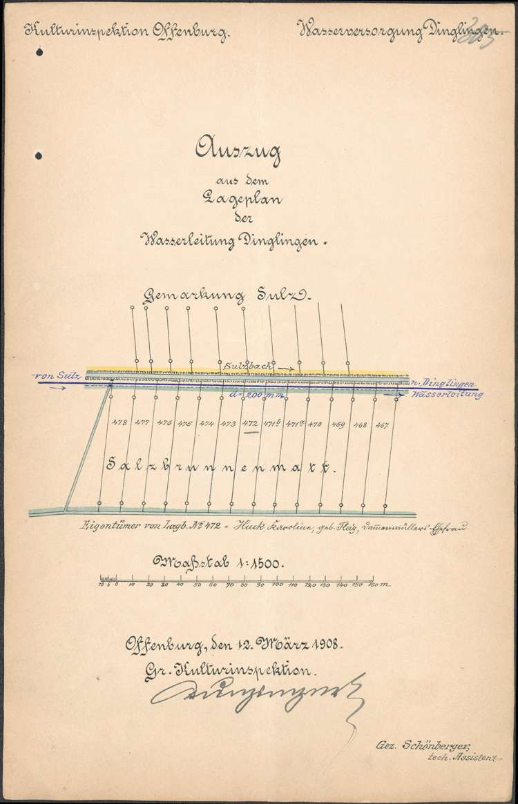 Errichtung und Instandhaltung der Wasserleitung in der Gemeinde Dinglingen, später des Stadtteils Lahr-Dinglingen, Bild 1